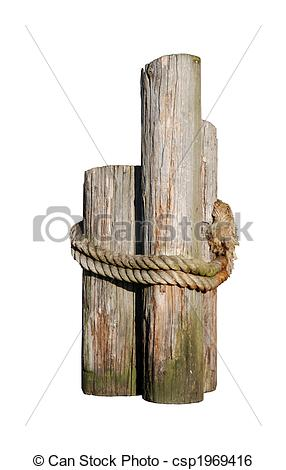 Stock Image of Log pilings.
