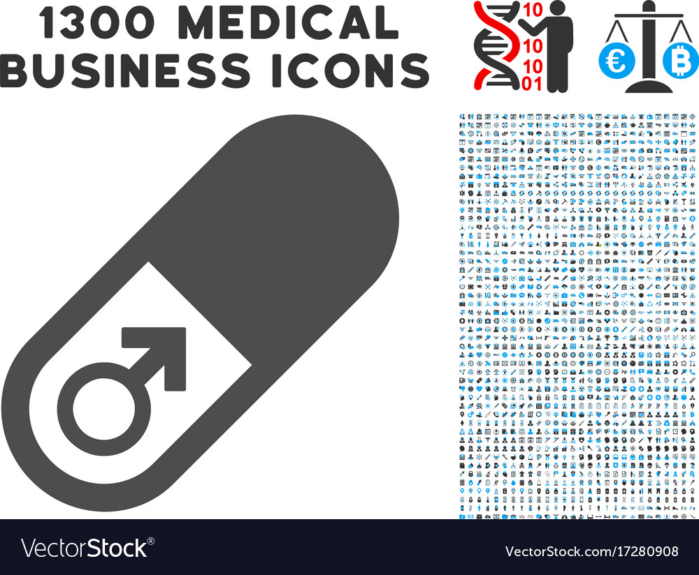 Male power pill icon with 1300 medical business.