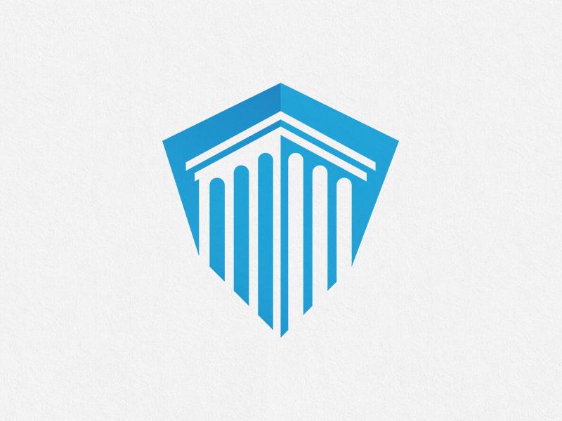 Shield & Pillar Logo Design Concept for Insurance Company by.