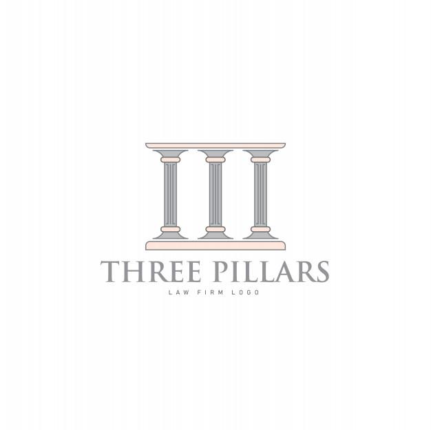 Hree pillars with greek roman pillar style logo design for.