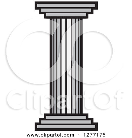 Clipart of a Grayscale Pillar Column.