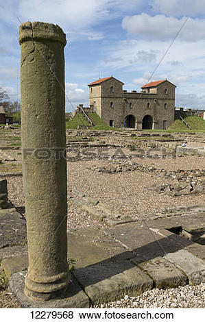 Pictures of Stone pillar at Arbeia Roman Fort; South Shields, Tyne.