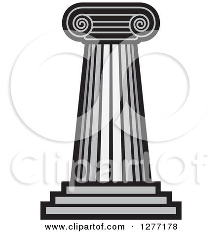 Clipart of a Grayscale Pillar Column.