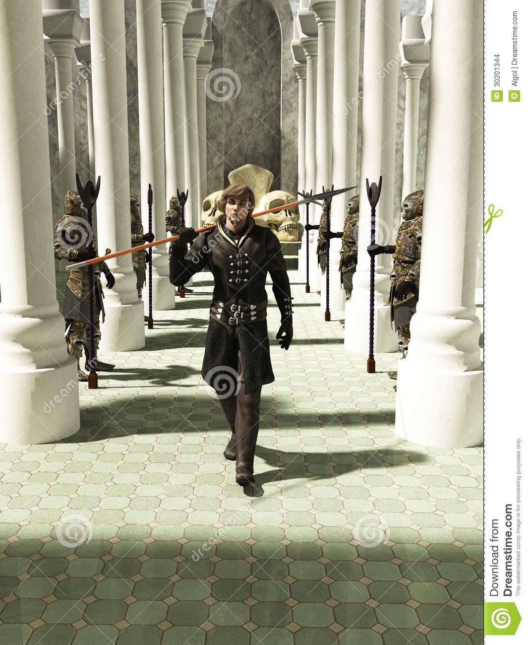 Medieval Or Fantasy Spearman Walking Through The Throneroom Stock.