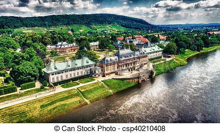Photographies de pillnitz, Allemagne, château, aérien, vue.