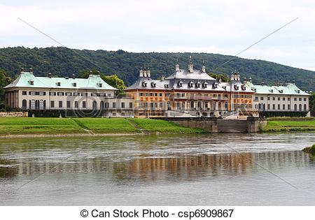 Plaatje van pillnitz, kasteel.