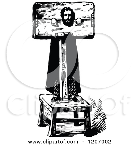 Clipart of a Vintage Black and White Pillory Man.