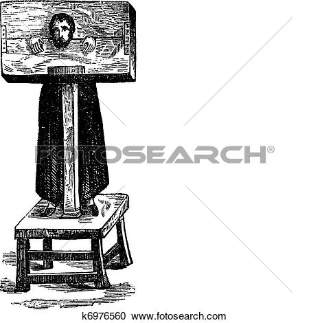 Clipart of Pillory, after an ancient engraving, vintage engraving.