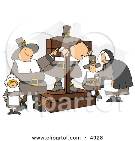 The Pilgrim Pillory Clipart by Dennis Cox #4928.
