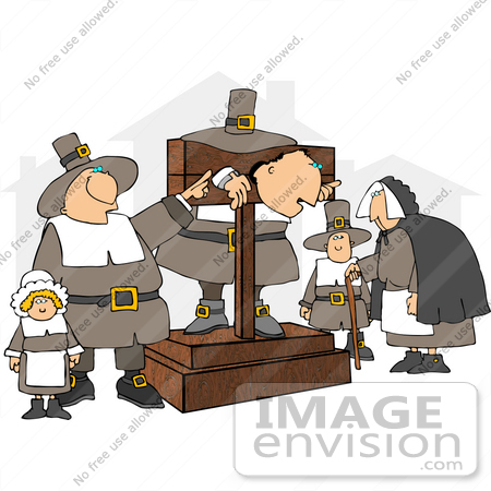Pilgrims, One in a Pillory Clipart.