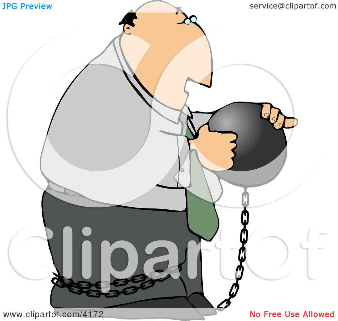Businessman Criminal Wearing a Ball and Chain Clipart by Dennis.