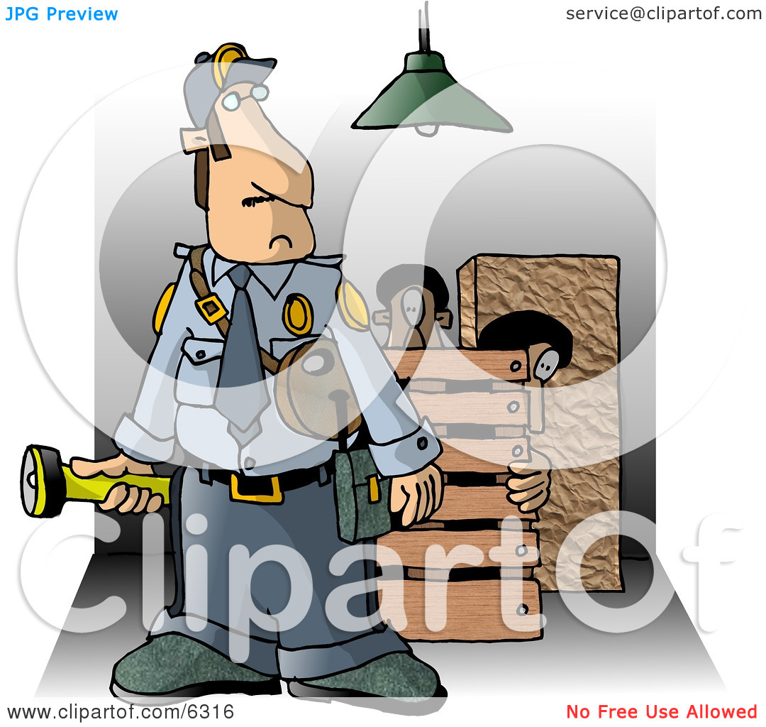 Security Guard Checking Property at Night for Criminals Clipart.