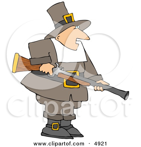Clipart of an Outlined Female Pilgrim Farting.