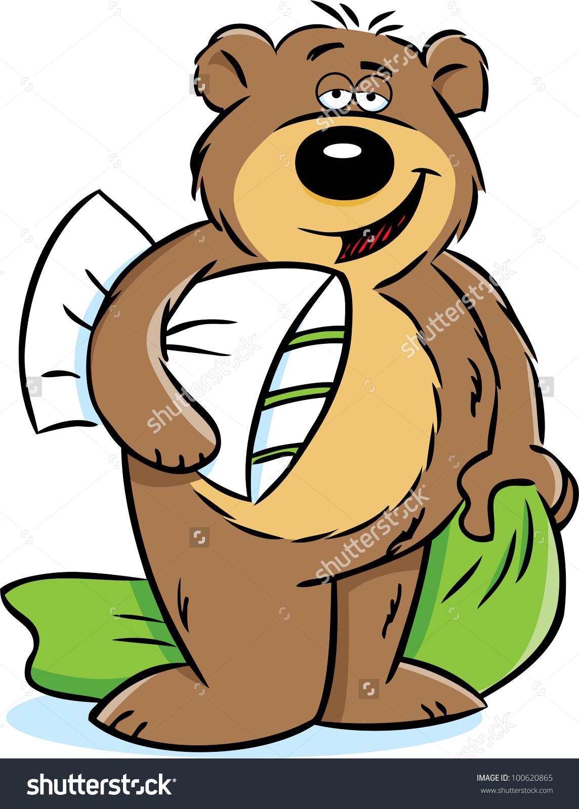 Bear Holding Pillow Blanket Stock Illustration 100620865.
