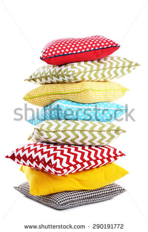 Stack Of Colorful Pillows Isolated On White Stock Photo 290191772.