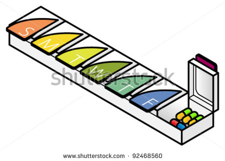 Weekly pill box clipart.