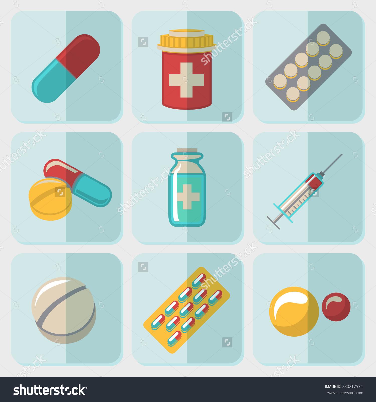 Medicine Drugs Flat Icons Set Pills Stock Vector 230217574.