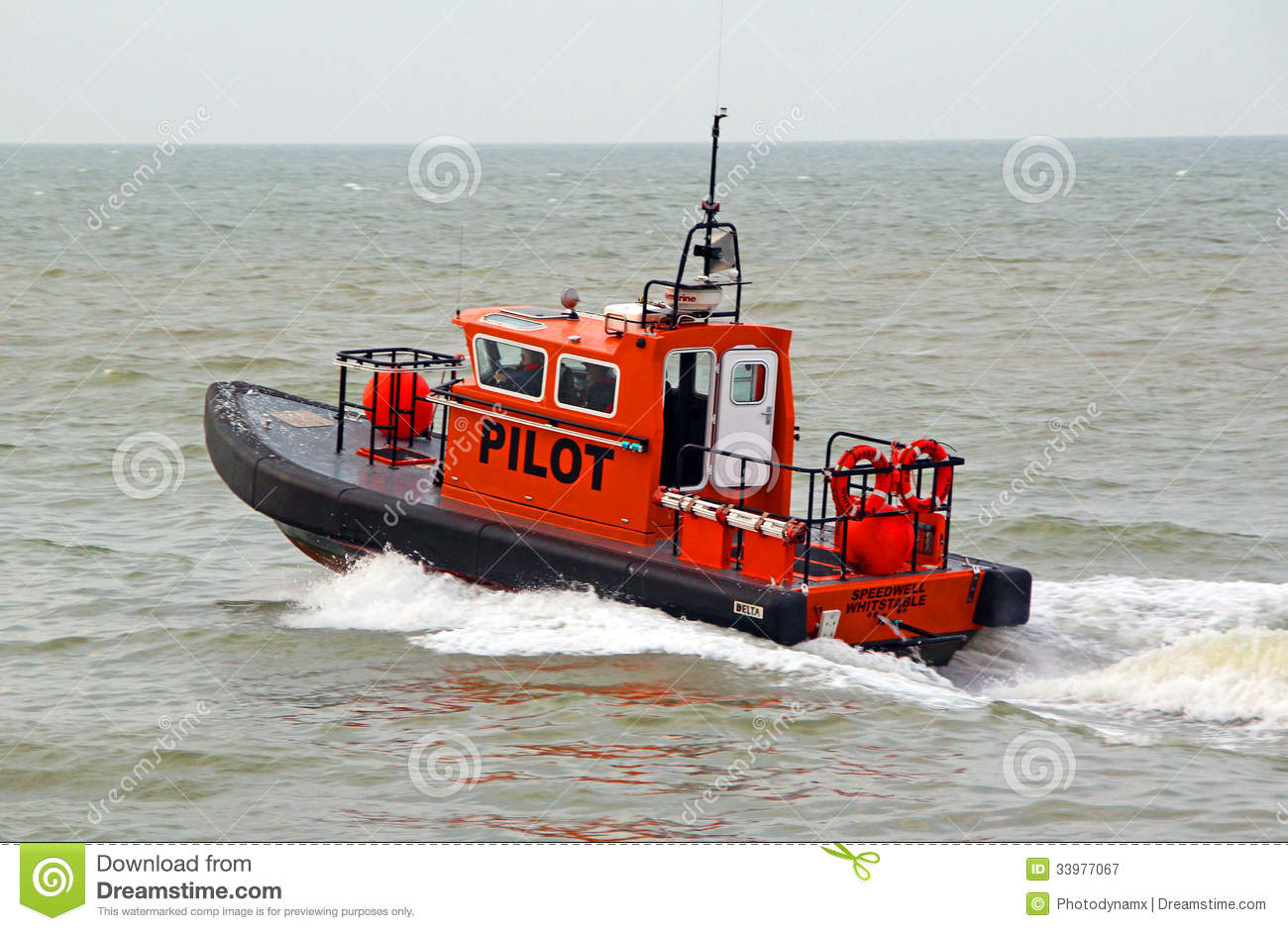 Pilot Boat Leaving Harbour Editorial Photography.