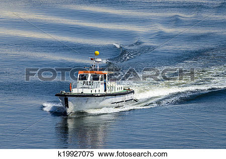 Stock Image of Pilot boat travelling at speed k19927075.