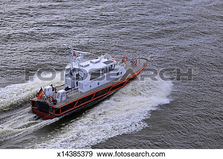 Stock Photograph of pilot boat on Elbe river near Brunsbüttel.