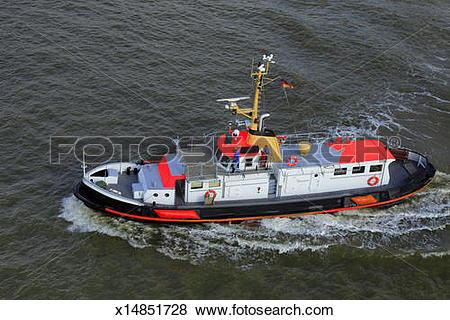 Pictures of pilot boat on Elbe river near Brunsbüttel x14851728.