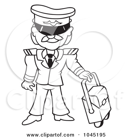 pilot clipart black and white #11