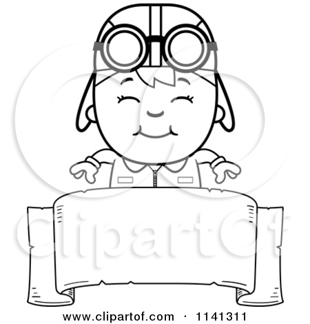 pilot clipart black and white #5