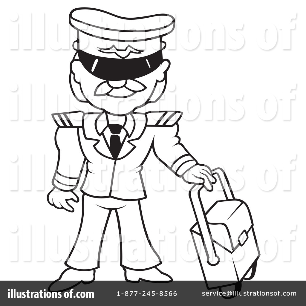 pilot clipart black and white #1