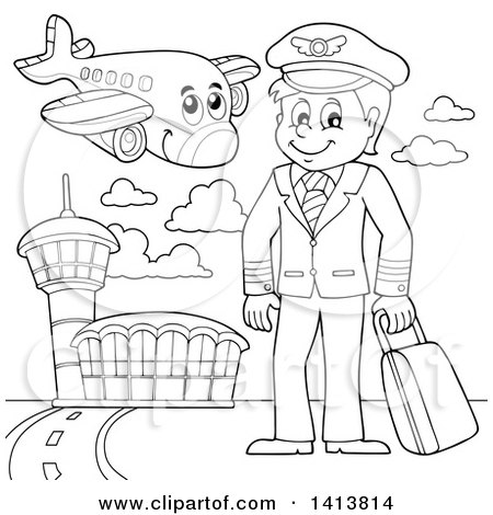 clipart black and white pilot #20