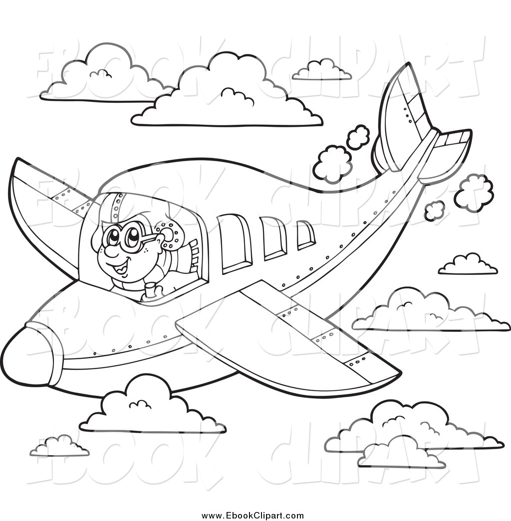 Vector Clip Art of a Black and White Pilot in Flight by visekart.
