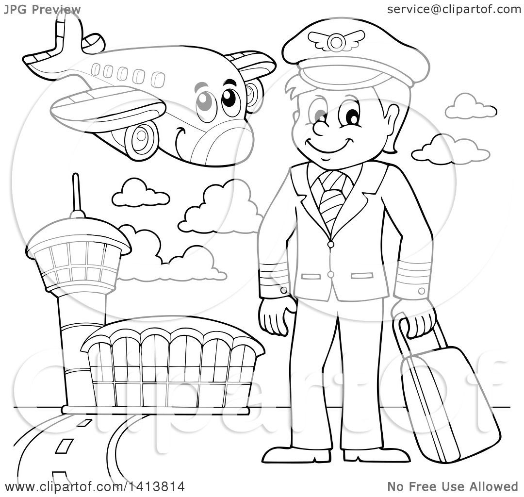 Clipart of a Black and White Lineart Pilot and Airplane at an.