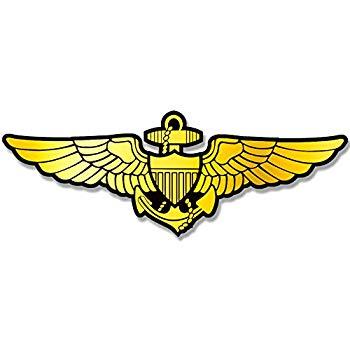 American Vinyl Gold Navy Aviator Wings Shaped Sticker (Logo Naval Pilot Fly  Aviation).