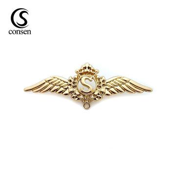 Wholesale Gold Custom Metal Pilot Wings Pin Badge With Logo.