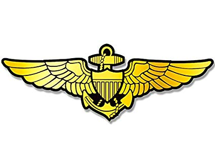 American Vinyl Gold Navy Aviator Wings Shaped Sticker (Logo Naval Pilot Fly  Aviation).