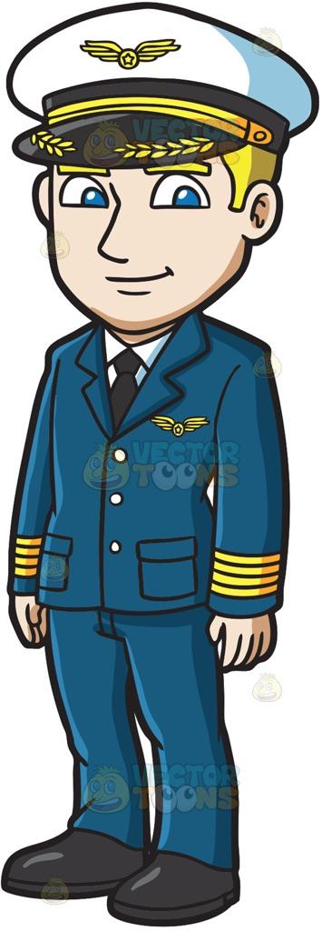 A Handsome Pilot Cartoon Clipart.