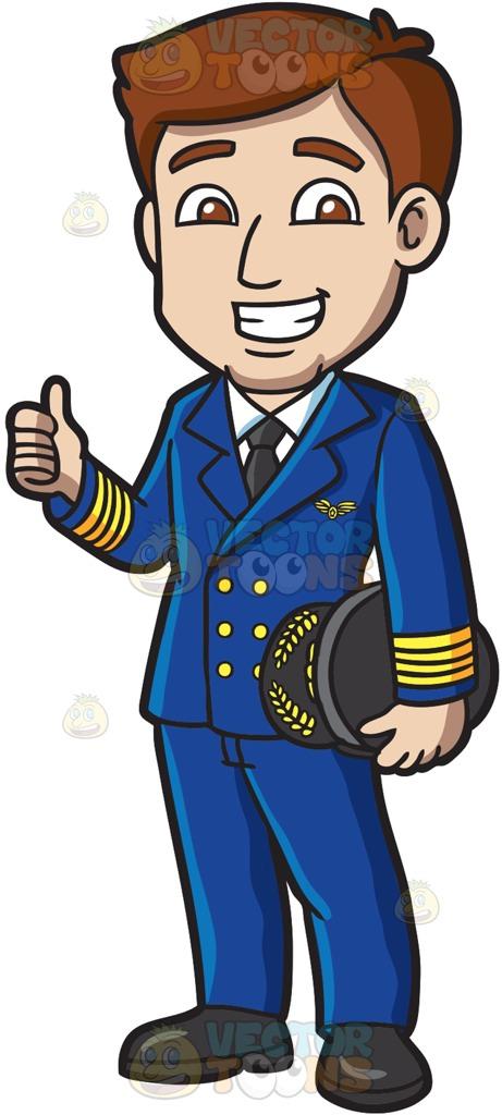 A Happy Pilot Approving A Flight Cartoon Clipart.