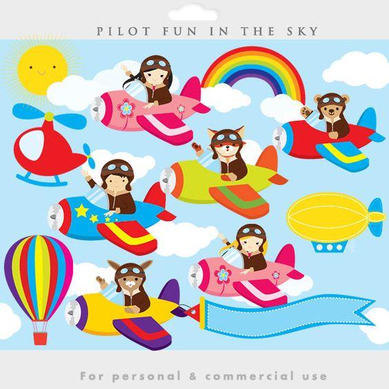 Little pilots clipart.