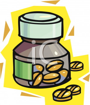 Royalty Free Clip Art Image: Small Prescription Bottle and Pills.