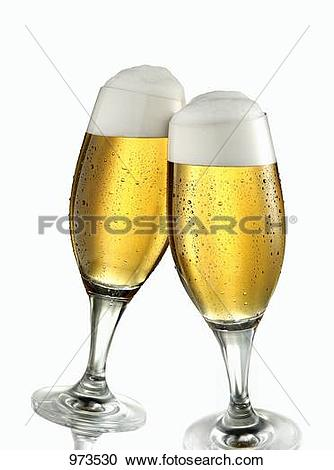 Stock Photography of Two glasses of pils clinking together 973530.