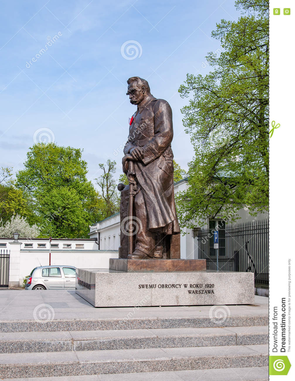 Pilsudski Statue In Warsaw, Poland Editorial Photography.