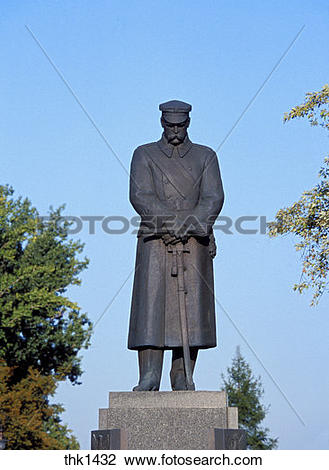 Stock Photo of Poland, Warsaw, Jozef Pilsudski at Pilsudski Square.