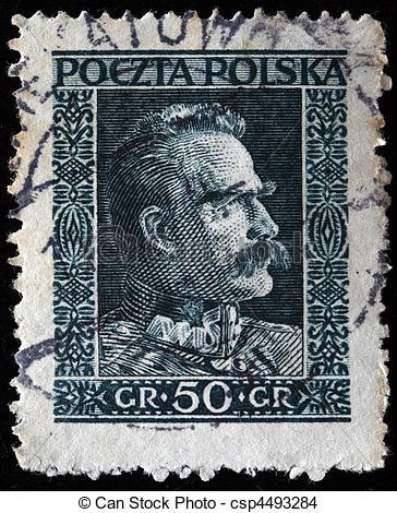 Drawing of Jozef Klemens Pilsudski.