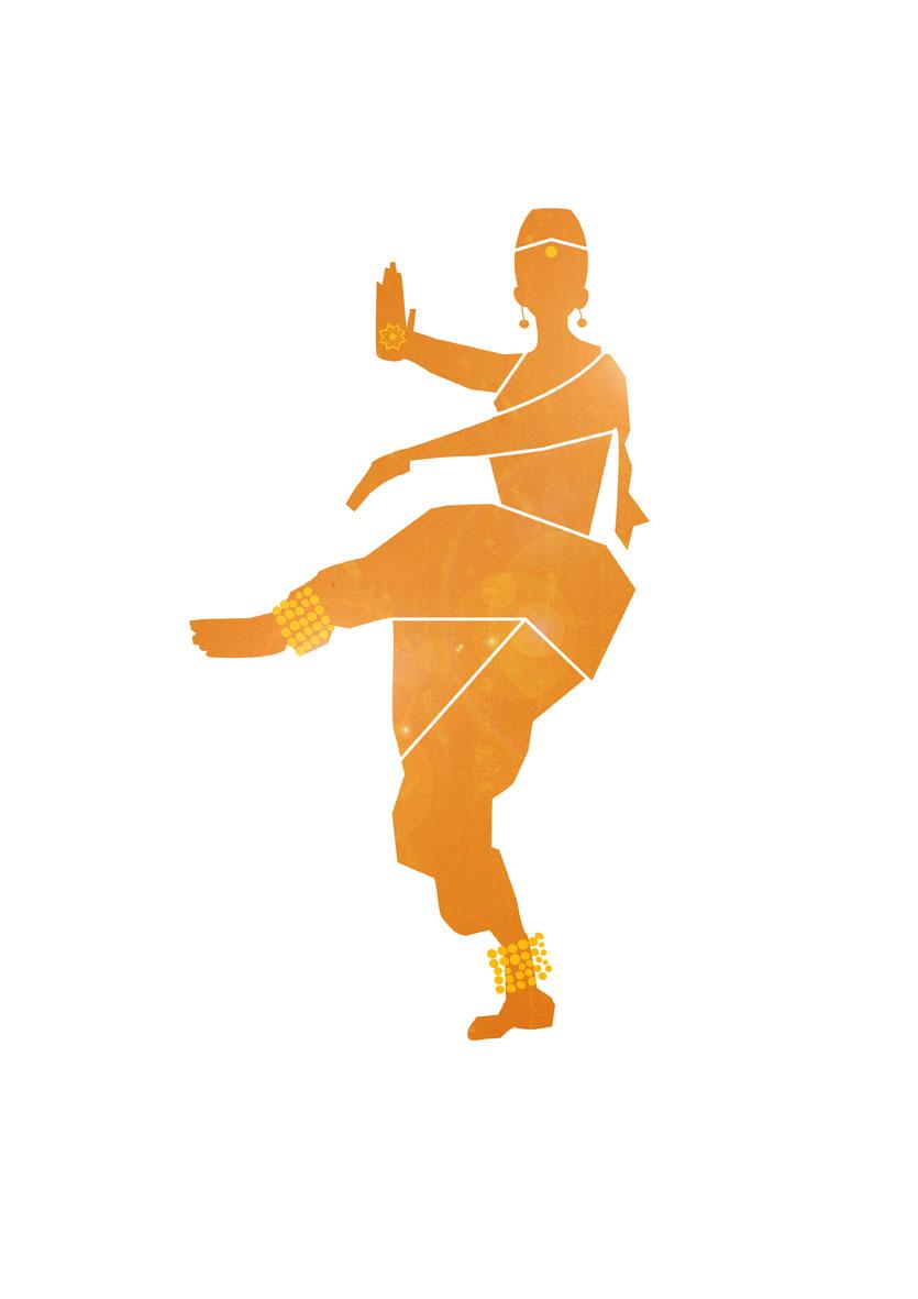 Kuchipudi Dancer Silhouette.