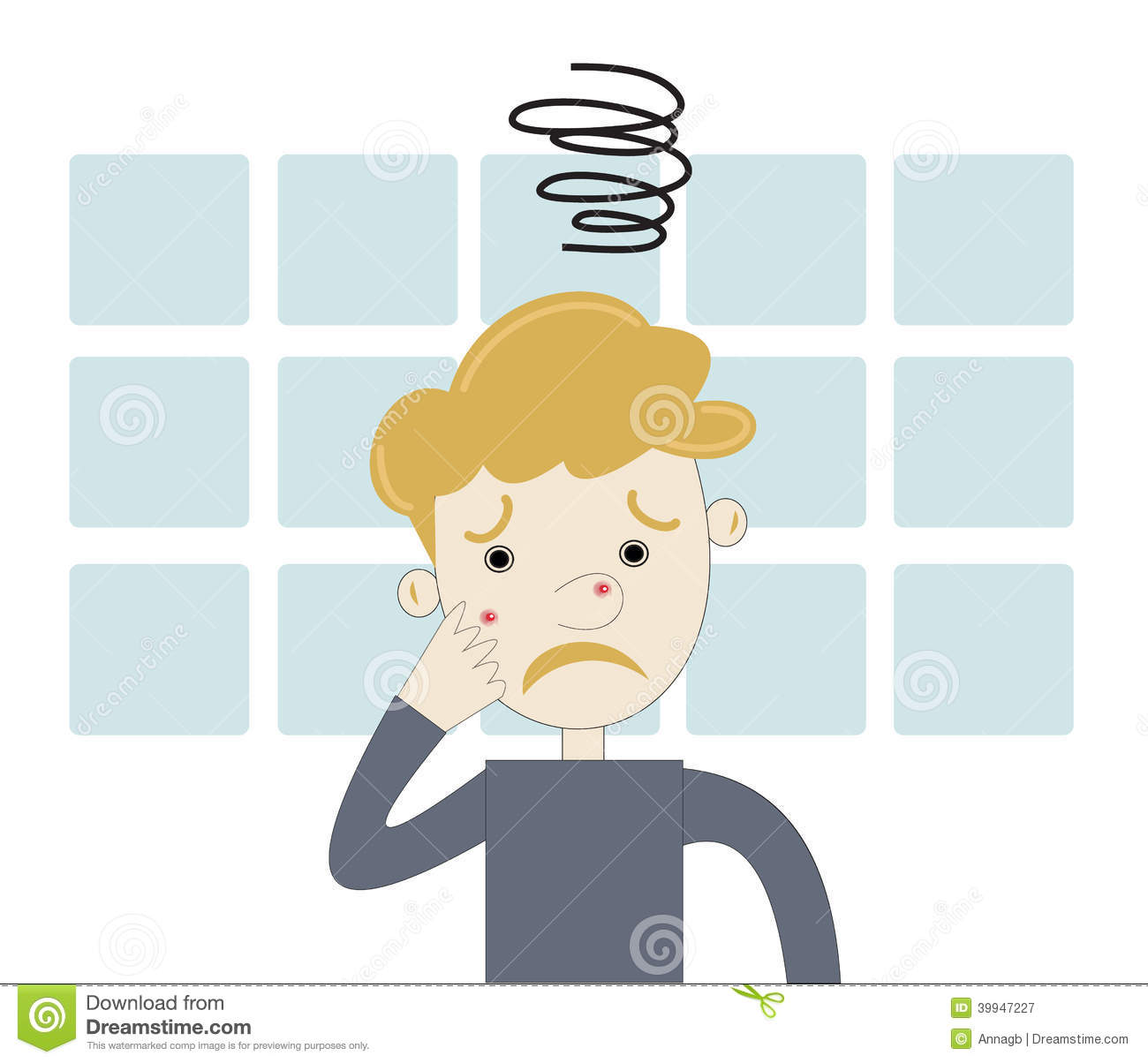 Teenager Boy Angry With Acne Stock Vector.