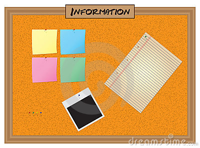 Colour Note Papers On Pin Board Stock Images.