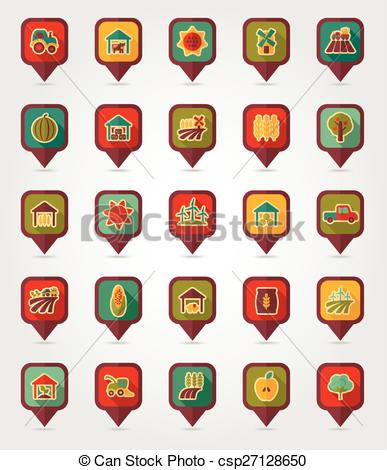 Clipart Vector of Farm Field flat mapping pin icon with long.