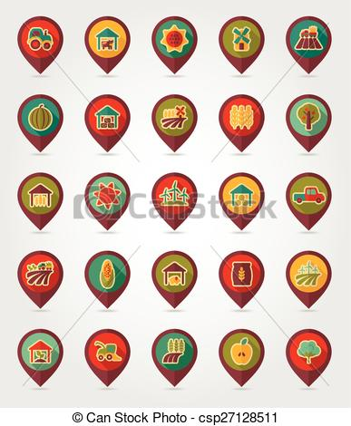 Vector Clip Art of Farm Field flat mapping pin icon with long.