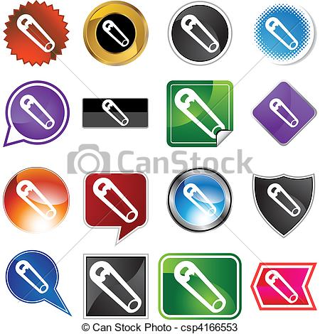 Vectors of Safety Pin web button isolated on a background.