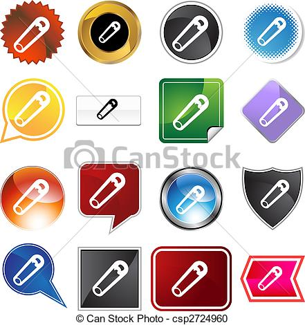 Vector Clipart of Safety Pin Icon Set.