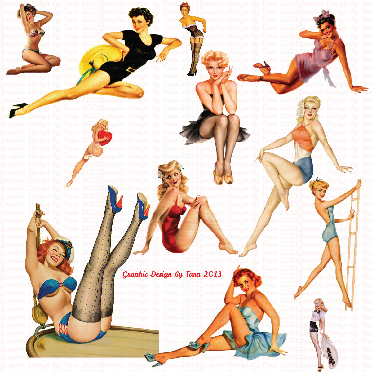 Pin Up Clipart.